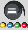 Hotel bed icon sign Symbol on five colored buttons vector image vector image