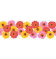 large red pink and yellow flowers seamless vector image