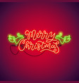 merry christmas neon sign red vector image vector image