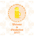 oktoberfest beer mug with foam vector image vector image