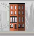 orange apartment building with a victorian style w vector image vector image