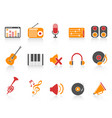orange red color series music sound equipment vector image