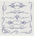 pen decorative ornaments on notebook page vector image vector image