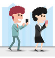 people with smartphone in the hand to digital vector image vector image