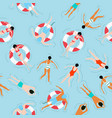peoples swimming summer pattern vector image