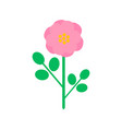 pink rose-hip flower in cartoon style vector image vector image