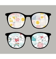 Retro sunglasses with tender reflection in it vector image