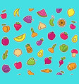 seamless background with stickers of vegetables vector image vector image