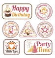 Set of celebration stamps vector image vector image