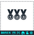 set of gold silver bronze medals icon flat vector image