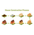 stage construction house set card poster isometric vector image