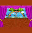 stage with rainbow and tree background vector image