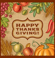 Thanksgiving Retro Card vector image vector image