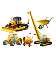 Tractor and other vehicles used in construction vector image