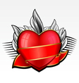 valentine day heart with red ribbon and leaves on vector image