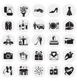 wedding icons set on circles background for vector image vector image