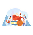 winter hot drink friends make chocolate drink vector image vector image