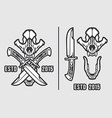 Wolf Skull with Crossed Knives Logo Emblem vector image vector image