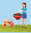 woman with meat food grill and hamper vector image