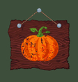 Wooden Sign with Pumpkin vector image vector image