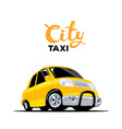yellow taxi car with header on white back vector image