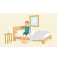 young guy wake up from sleep in the morning vector image