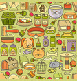 seamless pattern of hand drawn colorful pet vector image