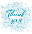 Word Thank you in simple cute oval wreath with vector image