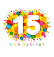 15 years anniversary paper colorful logo