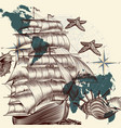 antique ship shells and map tripping theme vector image