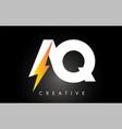 aq letter logo design with lighting thunder bolt vector image vector image