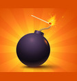 black bomb on orange background vector image vector image
