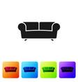 black sofa icon isolated on white background set vector image vector image