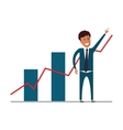 Businessman showing growing charts Flat vector image