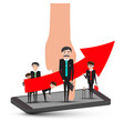 businessmen on mobile phone with hand and big up vector image vector image