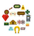 casino set flat icons vector image vector image