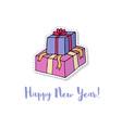 christmas present box cartoon sticker for new vector image vector image