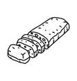ciabatta bread icon doodle hand drawn or outline vector image