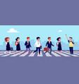 crosswalk kids school children crossing street on vector image vector image