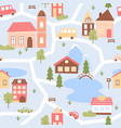 cute city houses seamless pattern cartoon funny vector image vector image
