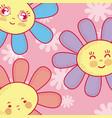 cute flowers cartoons vector image