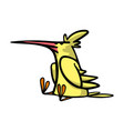 cute funny yellow bird with a big red beak sitting vector image vector image
