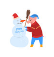 cute pig character making snowman piggy character vector image