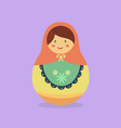 cute russian doll orange vector image