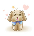 cute toy poodle wearing blue ribbon tie vector image