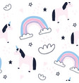 cute unicorns and rainbows seamless pattern vector image