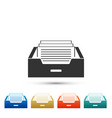 drawer with documents icon on white background vector image vector image