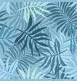 elegant pattern with tender blue tropical leaves vector image vector image
