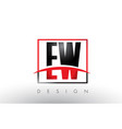 ew e w logo letters with red and black colors and vector image vector image