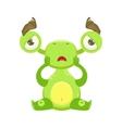 Funny Monster Sitting Upset Green Alien Emoji vector image vector image